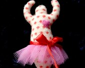 Angora with pink heart and tutu ~ Small Wool Goddess Doll