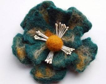 Flower brooch felt, handfelted, wool felted item, seagreen and yellow ocre, felt flower hair clip, flower felt pin, corsage, big flower