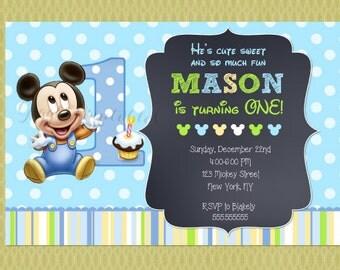 Baby Mickey Mouse Invitations , Baby Mickey Invitations , 1st Birthday Invitations, Chalkboard