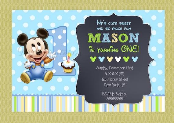 Baby Mickey Mouse Invitations Baby Mickey Invitations 1st – Baby Mickey Invitations Birthday
