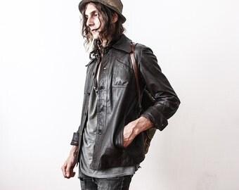 Vintage Brown Leather Jacket Sevigner Paris 1970s Slim Fit Jacket Blazer Retro