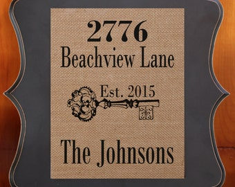 Burlap Home Decor - New Home Gift - Address Sign - Our First Home Housewarming Gift - Burlap Sign