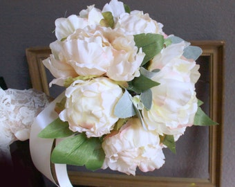 Bridal Bouquet, Peony Bud and Flower Wedding Bouquet, Fabric Bouquet, Ivory Cream Blush Flowers, Ready to Ship