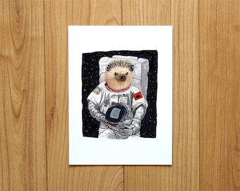 Hedgehog in the space A4 print