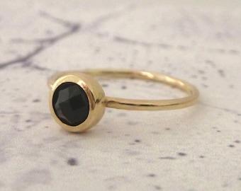 Black Onyx Ring - 9ct Yellow Gold Ring - Stacking Stone Set Ring - Slim 9ct Gold Ring