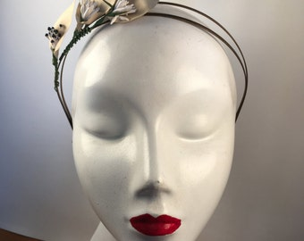 Pale Gold Ivory Bridal Lily Headband with Spiky & Two Tone Buds