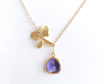 Purple and Gold Flower Necklace - Tanzanite Purple Gold Orchid Lariat - Gold Filled Chain - Wedding Jewelry, Bridesmaids Jewelry, Bridal