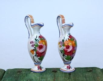 Italian Castelli hand-painted vases
