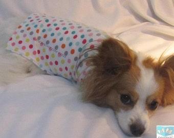 XS-M Soft Cotton Dog shirt White w Multi colored polka dots