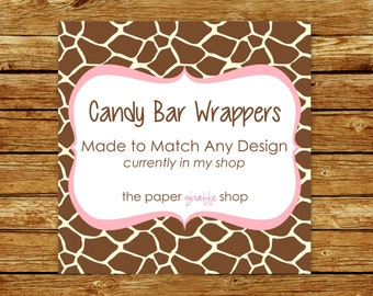 Made to Match Candy Bar Wrapper | Made to Match Party Printables | Party Printables Made to Match Any Design in my Shop | Candy Bar Wrapper