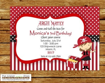 Girl Pirate Invitation | Girl Pirate Birthday Party | Pirate Party | Pirate Birthday Party for Girls