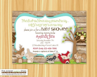 Woodland Creatures Baby Shower Invitation | Woodland Creatures It's a Boy Baby Shower | Rustic Woodland Creatures Invitation | Baby Boy