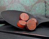 Flat Round Bead - Handmade Polymer Round - Red Black Striped Matte Finish Bohemian Rustic Flat Round Bead - 14mm - Destash Sale - Pkg. 4