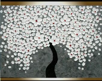 Original  Modern  White Cherry  Tree  Impasto Palette Knife Fine Art landscape Painting. Size 40 x 30