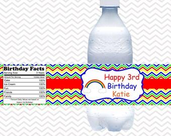 Rainbow Water Bottle Labels / Kids Rainbow Water Bottle Labels / Printable Rainbow Decoration / Rainbow Water Proof Labels