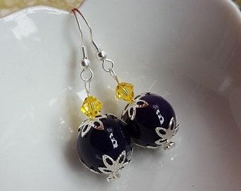 Purple Agate drop earrings