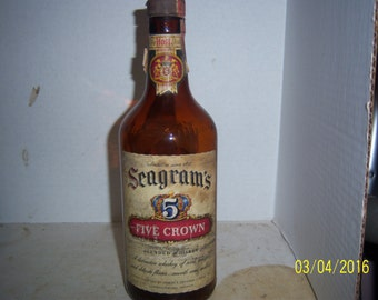 1940's  Seagrams Five Crown Whiskey Lawrenceburg, IND w/la amber quart  10 3/8 inch tall whiskey bottle