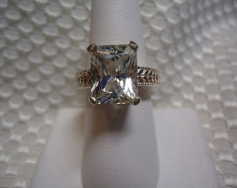 Radiant Emerald Cut White Topaz Ring in Sterling Silver  #1715
