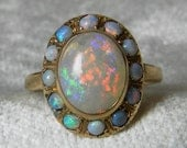 Opal Ring Antique 14K Rose Gold Blue Black Opal Engagement Ring Antique Australian Black Opal Halo Ring, October Birthday