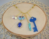 Gold Charm Necklace- Blue Key, Heart- One of a Kind!