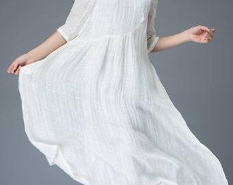 White linen dress, handmade dresses, half sleeve dress, eveyday dress, teen dress, elegant dress, loose dress, maxi dress, casual dress C820
