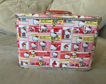 """Hello Kitty vintage 1990's Makeup Travel Case with Mirror and Lock Large Case  11' x 8"""" x 6"""""""