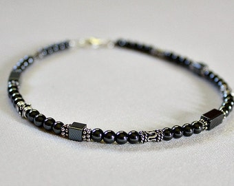 Mothers Day Gift,Hematite Anklet,21st,30th,40th,Birthday Gift,For Woman,Grounding,Stone Ankle Bracelet,Unique,Graduation Gift,For Girl