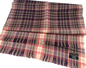 Vintage Wool Shawl Scarf, Fine Merino Wool Scarf, Plaid Tartan Shawl, Holt Renfrew Wool Scarf, Pink Purple Wool Shawl, Mint Condition