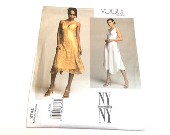 Vogue Evening Dress Pattern, Vogue 2745, NY NY Collection, Dress and Slip, Uncut, size 14 16 18