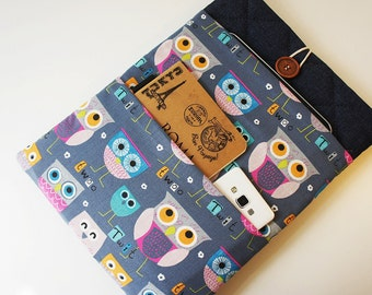 Navy owl 13 inch Laptop Sleeve - Macbook Air or Pro,  Custom Size for Your 13'' Laptop - Laptop Cover, Padded Sleeve Case, owl laptop bag