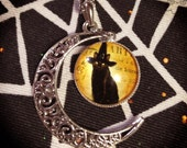 Witches Familiar Crescent Moon Necklace / black cat crow necklace halloween raven spooky moon crescent creepy cute kitty witchcraft pets pet