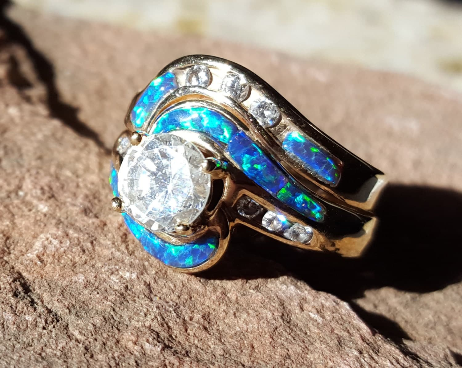 Grand Galaxy Diamond Opal Inlay 14k Gold Engagement Ring And