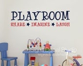Playroom Wall Decal - Playroom Share Imagine Laugh Wall Decal - Kids Room Decal - Playroom Sticker - Playroom Decor