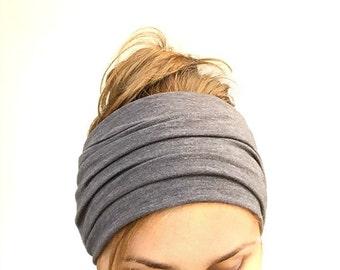 dark gray long head scarf jersey head wrap self tie headband hair loss chemo head cover headwrap headscarf every day bad hair day casual