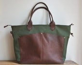 Diaper bag tote bag gym bag laptop bag DRAB GREEN Waxed canvas oil tanned leather