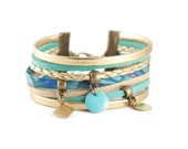 Boho cuff bracelet turquoise and gold || Multi strand bracelet