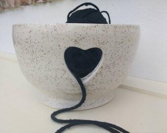 Pottery Yarn Bowl UK Knitting Bowl Handmade - ready to ship- Speckled Cream
