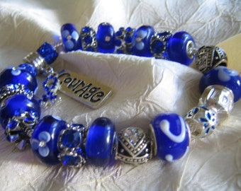 COLON CANCER AWARENESS ...Silver Charm Bracelet...by TLCcharms