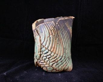 ChingWenArts Studio Pottery Handmade Stoneware Vase, Pot, #E044