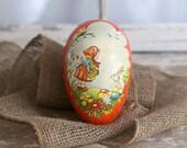 Vintage Mache Easter Egg, Large Mache Easter Egg, German Easter Egg, Orange, Easter Bunny