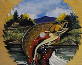 Hand Painted SAW BLADE -Leaping Brook Trout