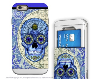 iPhone 6 6s Cardholder Case with Astrology Skull Artwork - Astrologiskull - Credit Card Apple iPhone 6s Case with Rubber Sides