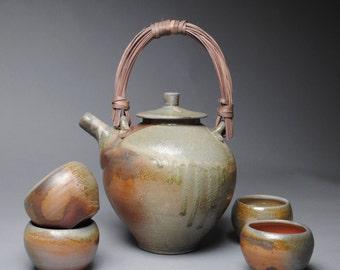 Wood Fired Tea Set 4 Bowls D37