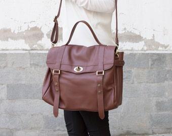 Leather laptop messenger bag - Women's messenger bag - Leather satchel - MELINA bag