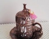 Demitasse Coffee Cup, Ottoman tullip mug set, Traditional Folk Mug,  Mother Day Gift, Cute Coffee Mug, Home Decoration, Unique Espresso Cup