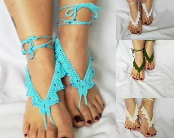 Turquoise Barefoot Sandals, Beach Pool,Nude shoes,Foot jewelry, Bridal Sandals, Destination Weddings, Beach Sandals, FlowerGirl