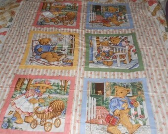 "Bear Block Print Panel 46"" Long By 42"" Wide-Make A Quilt"