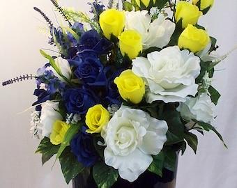 Blue And Yellow Flower Arrangement, Floral Centerpiece, Table Arrangements,  Silk Vase Large Blue