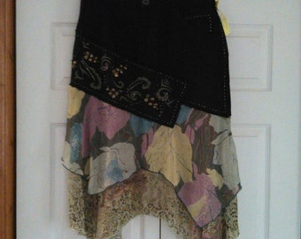 Up-cycled Jean skirt size small 9
