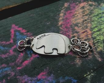 Mama Bear Bracelet Mama Bear Jewelry Hand Stamped Jewelry Personalized Sterling Silver Bracelet Names Bracelet Mommy jewelry